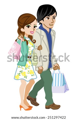 Shopping Couple,Spring Fashion - stock vector