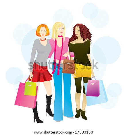 Shopping day (3 layers: girls, bags, bubbles) - stock vector