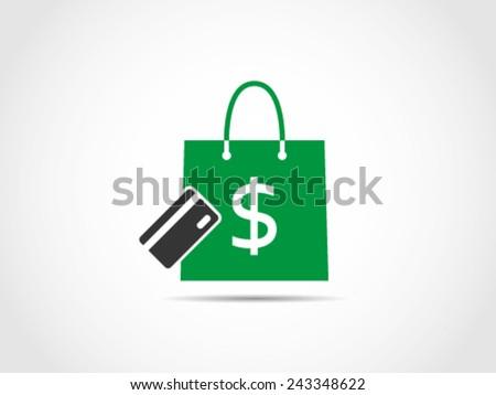 Shopping Debit Credit Card - stock vector