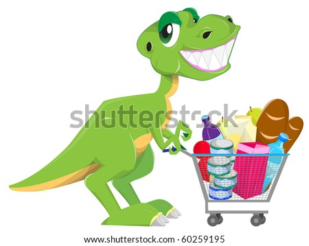 shopping dinosaur - stock vector