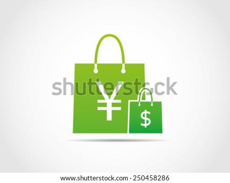 Shopping Dollar Yen - stock vector