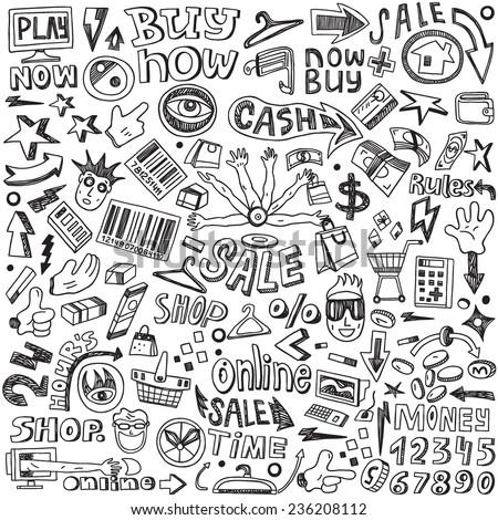 Shopping - doodles set  - stock vector