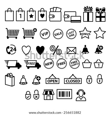 Shopping e-commerce icons set. Supermarket services pictograms  - stock vector