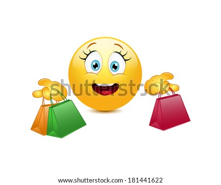 Shopping emoticon  on a white background - stock vector