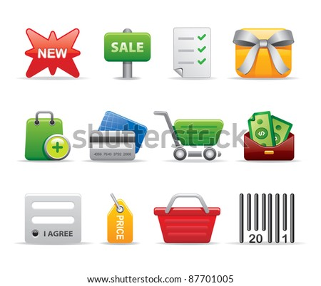 Shopping exclusive logos icons business set - stock vector