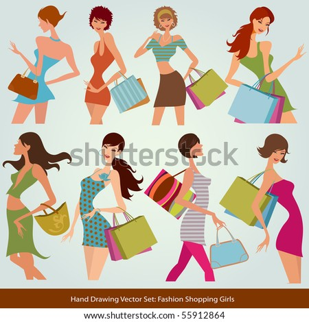 shopping fashion girls - stock vector