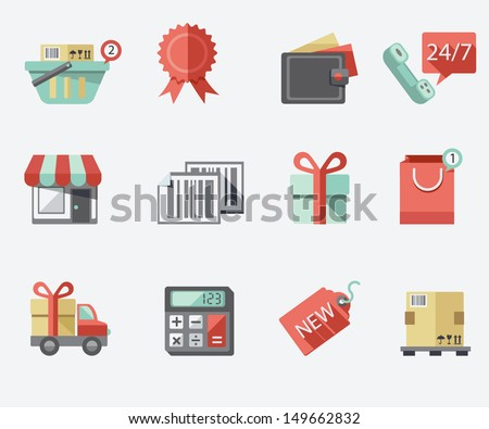Shopping flat icon set - stock vector