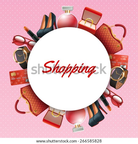 Shopping Frame Realistic Stylish Clothes Fashion Stock Vector ...