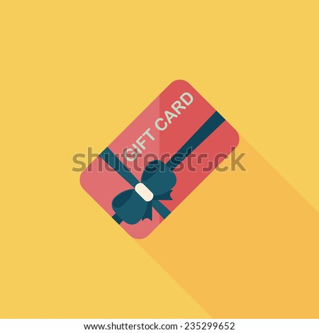 shopping gift card flat icon with long shadow,eps10 - stock vector