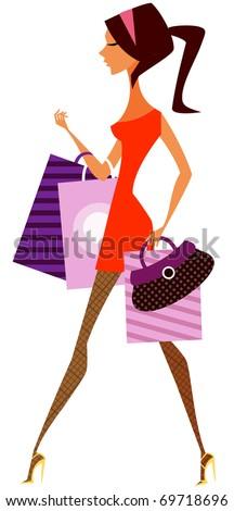 shopping girl - stock vector