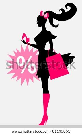 shopping girl - sale - stock vector
