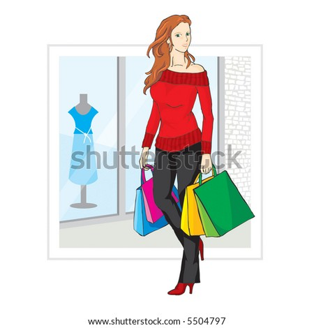 Shopping girl (two layers - girl and background) - stock vector