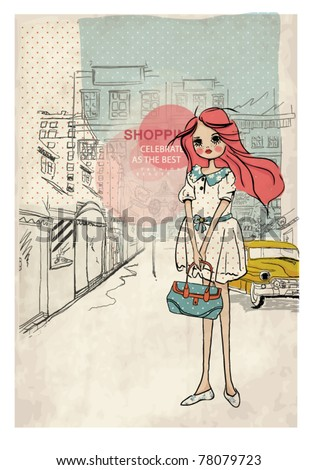 shopping girl with taxi city background - stock vector