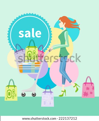 Shopping girl woman with trolley showing shopping bag with sale written on label. Beautiful smiling woman near shopping tag flat design cartoon style - stock vector