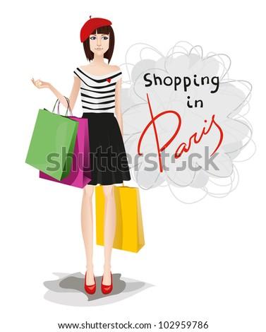 Shopping glamour women in Paris - stock vector