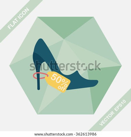 shopping high-heeled shoes flat icon with long shadow,eps10 - stock vector
