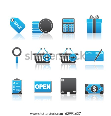 Shopping icon set 22 - Blue Series.  Vector EPS 8 format, easy to edit. - stock vector