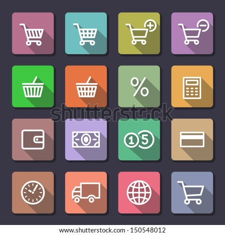 Shopping Icon Set. Flaticons series (metro style flat icons with long shadow) - stock vector