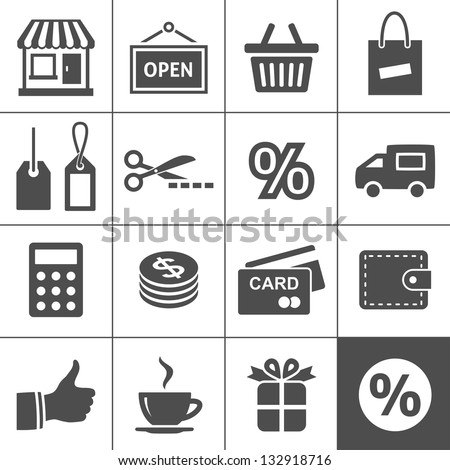 Shopping Icon Set. Simplus series - stock vector