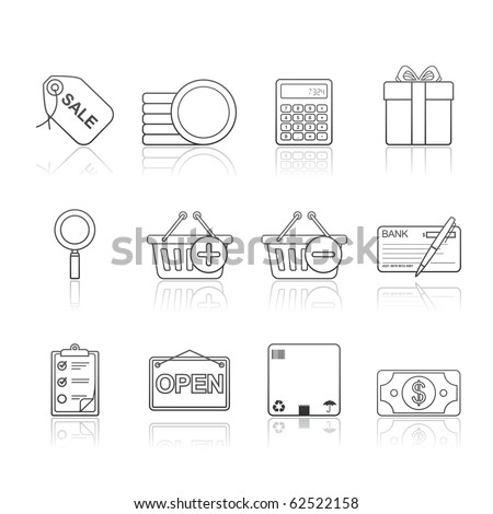 Shopping icon set 22 - Strokes Series.  Vector EPS 8 format, easy to edit. - stock vector