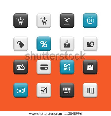 Shopping icons. Buttons - stock vector