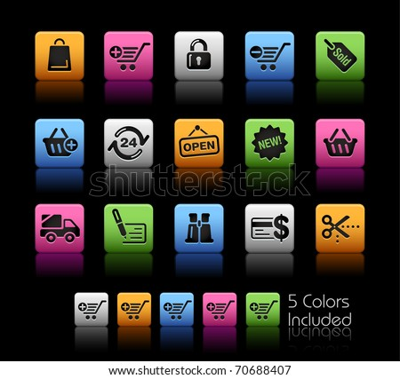 Shopping Icons  // Color Box -------It includes 5 color versions for each icon in different layers ---------