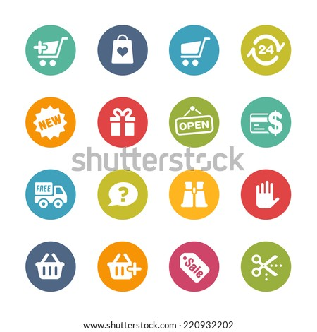 Shopping Icons // Fresh Colors -- Icons and buttons in different layers, easy to change colors. - stock vector