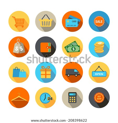 Shopping Icons in Flat Design Style - stock vector