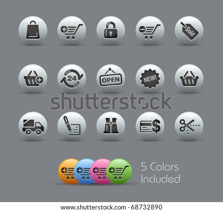 Shopping Icons // Pearly Series -------It includes 5 color versions for each icon in different layers --------- - stock vector