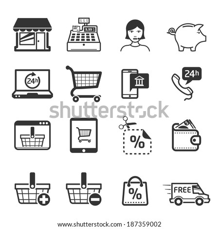 Shopping icons set 01 // BW - stock vector