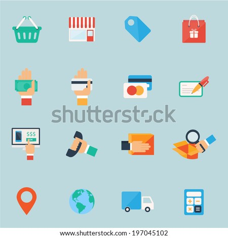 Shopping icons set. Colorful flat design. - stock vector