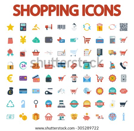 Shopping icons set. Flat vector related icon set for web and mobile applications. It can be used as - logo, pictogram, icon, infographic element. Vector Illustration.  - stock vector
