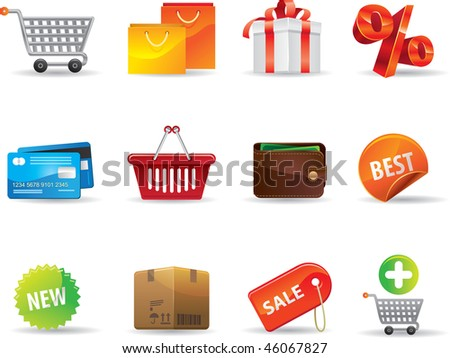 Shopping icons set. Vector illustration - stock vector