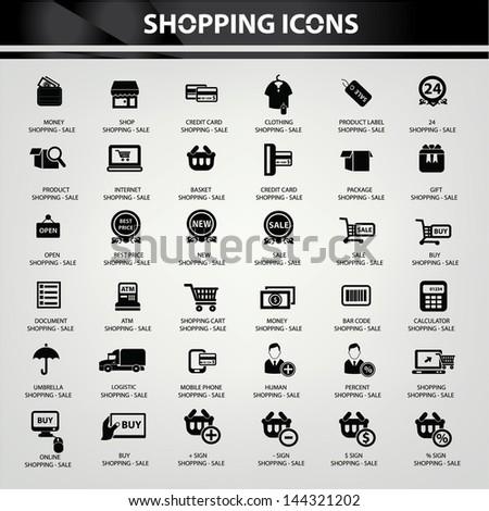 Shopping icons,vector - stock vector