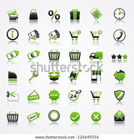 Shopping icons with reflection. - stock vector