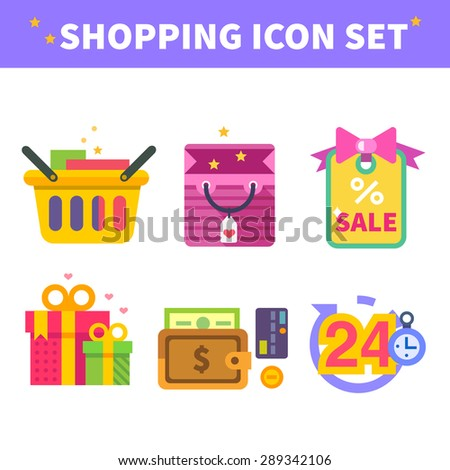 Shopping in internet, order the online store up to the house. Man with tablet buys goods via internet. Vector flat illustration and icon set - stock vector
