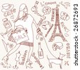 Shopping in Paris doodles - stock vector