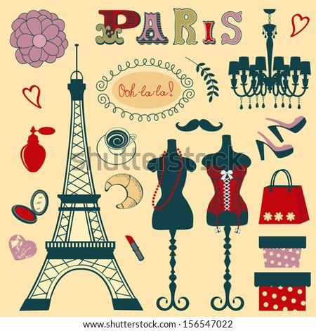 Shopping in Paris illustration - stock vector