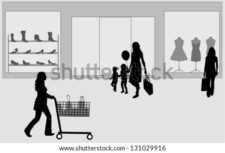 Shopping in the retail park - stock vector