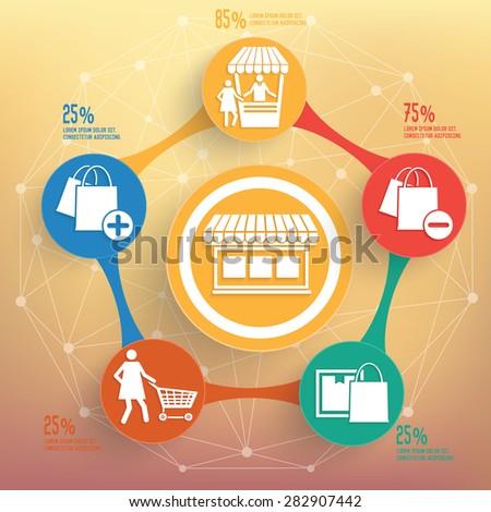 Shopping info graphic design, Business concept design. Clean vector. - stock vector