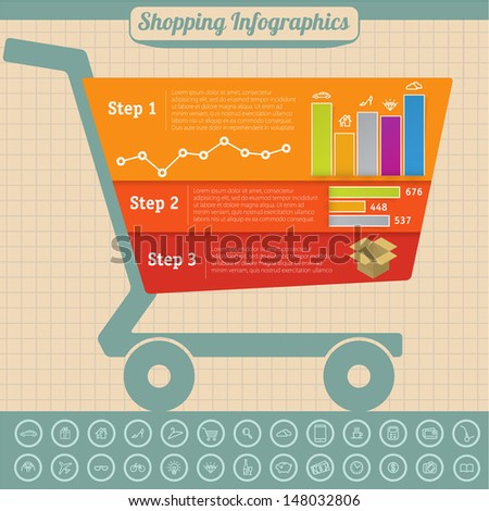 Shopping infographic design vector template with supermarket cart. - stock vector