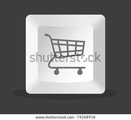 shopping key computer on black background - stock vector