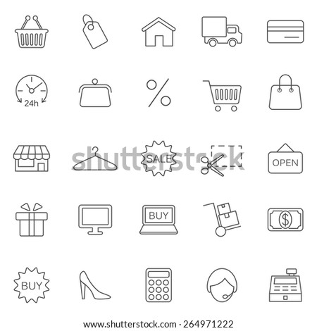 Shopping line  icons set. Vector - stock vector