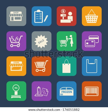 Shopping mall and delivery icons set. Flat design for Website and Mobile applications. Vector - stock vector
