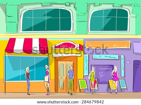Shopping Mall Building Exterior Store People Walking Shop Vector Illustration - stock vector