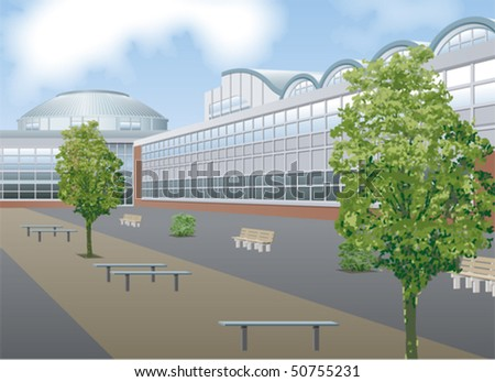 Shopping mall exterior - stock vector