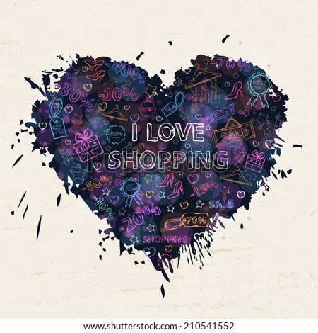 Shopping  neon background with colorful blots,inks,themed design with elements:sale,shoes ,heart gift,price tag,label,lipstick, discount,interest in the shape of heart with text - stock vector