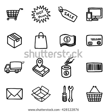 shopping objects or icons set/ cartoon vector and illustration, hand drawn style, isolated on white background. - stock vector