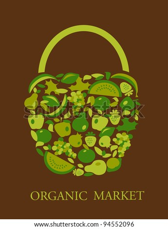 shopping of organic food - stock vector