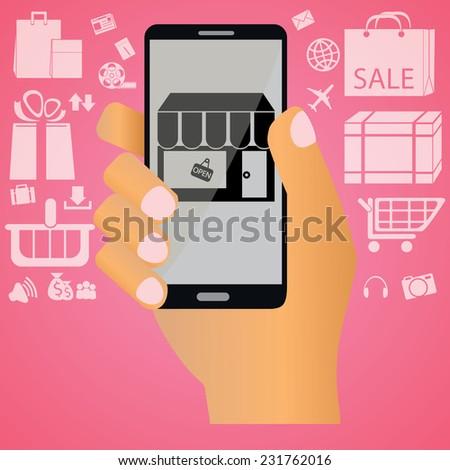Shopping on mobile - stock vector